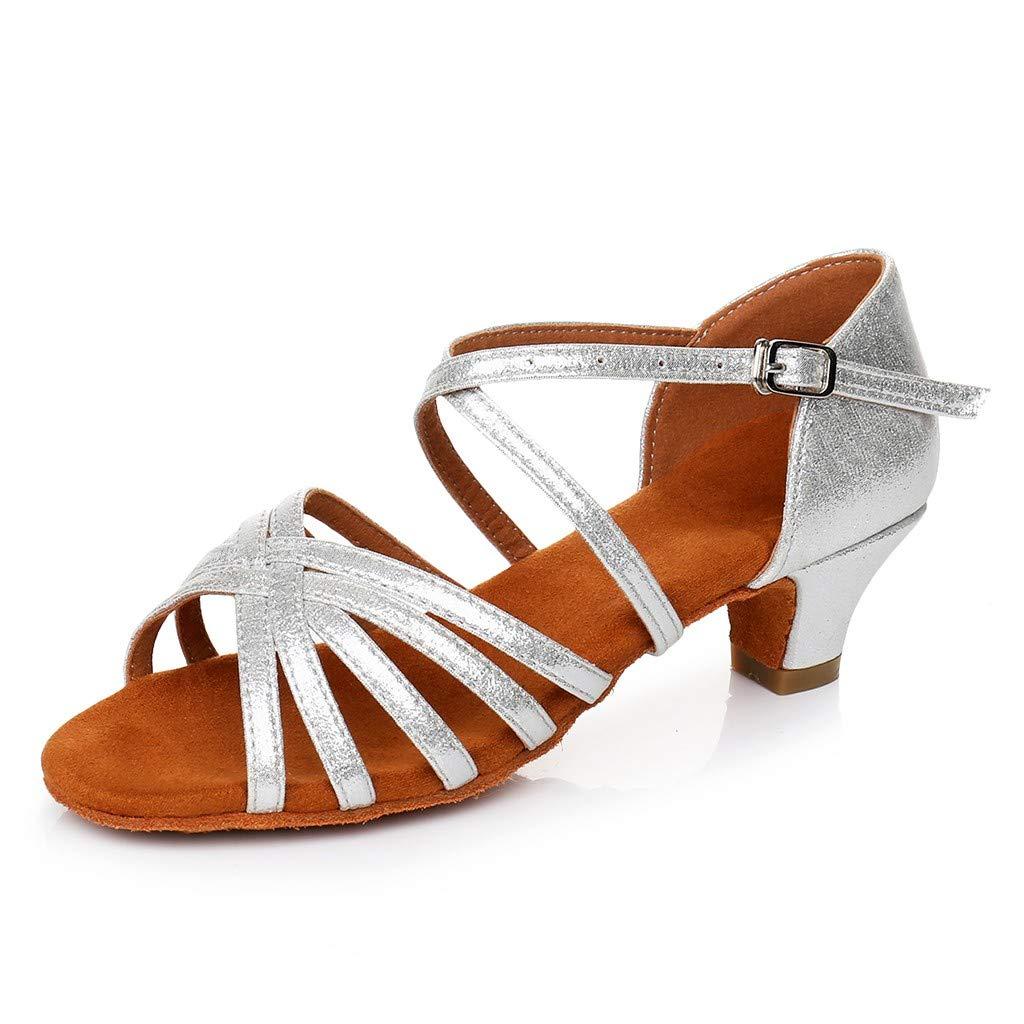 NEEKEY Women Dance Sandals,Ladies Low Heel Princess Waltz Dancing Ballroom Tango Latin Shoes Sandals
