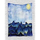 Ambesonne Apartment Decor Collection, Hills under Fairy Cloudy Sky with the Reflection of Moon Light Vivid Landscape Paint, Bedroom Living Room Dorm Wall Hanging Tapestry, Yellow Blue