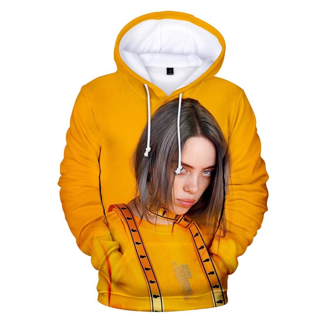 Flyself Unisex Billie Eilish Fans Felpa con Cappuccio Stampata 3D Hip Pop Cool Pullover Instagram Sweatshirt Streetwear per Uomo Donna Teen