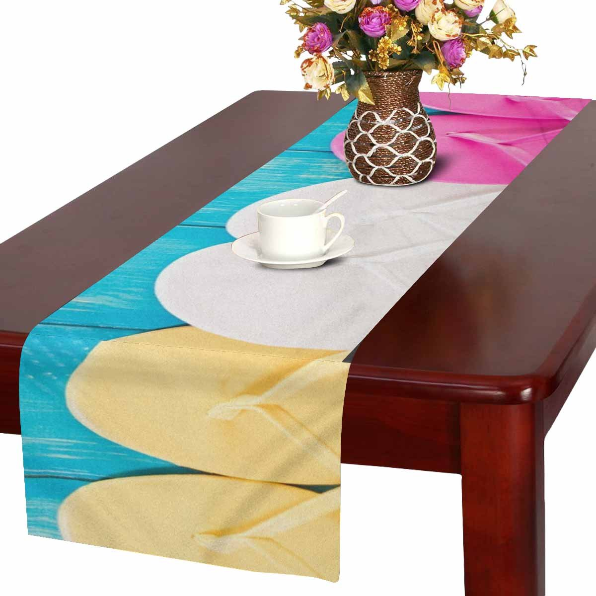InterestPrint Bright Women's Flip Flops on a Wood Board Table Runner Cotton Linen Cloth Placemat for Office Kitchen Dining Wedding Party Banquet 16 x 72 Inches