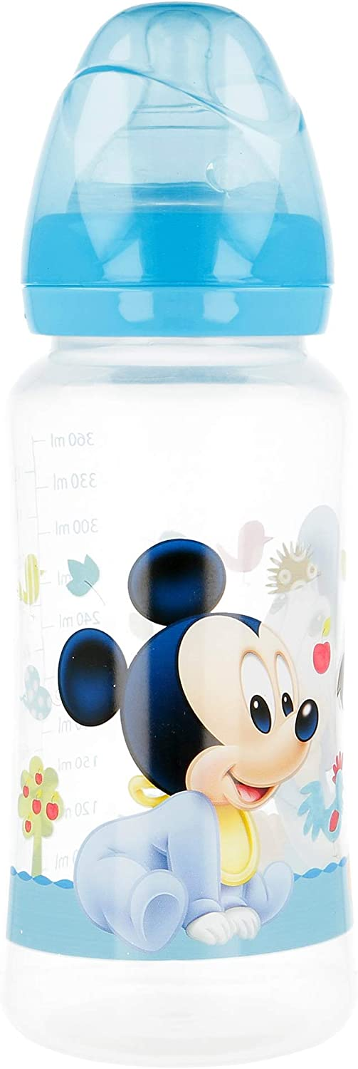 Mickey Mouse Design Wide Neck Baby Bottle 360 ml Silicone Teat 3 Positions Stor ST-39803
