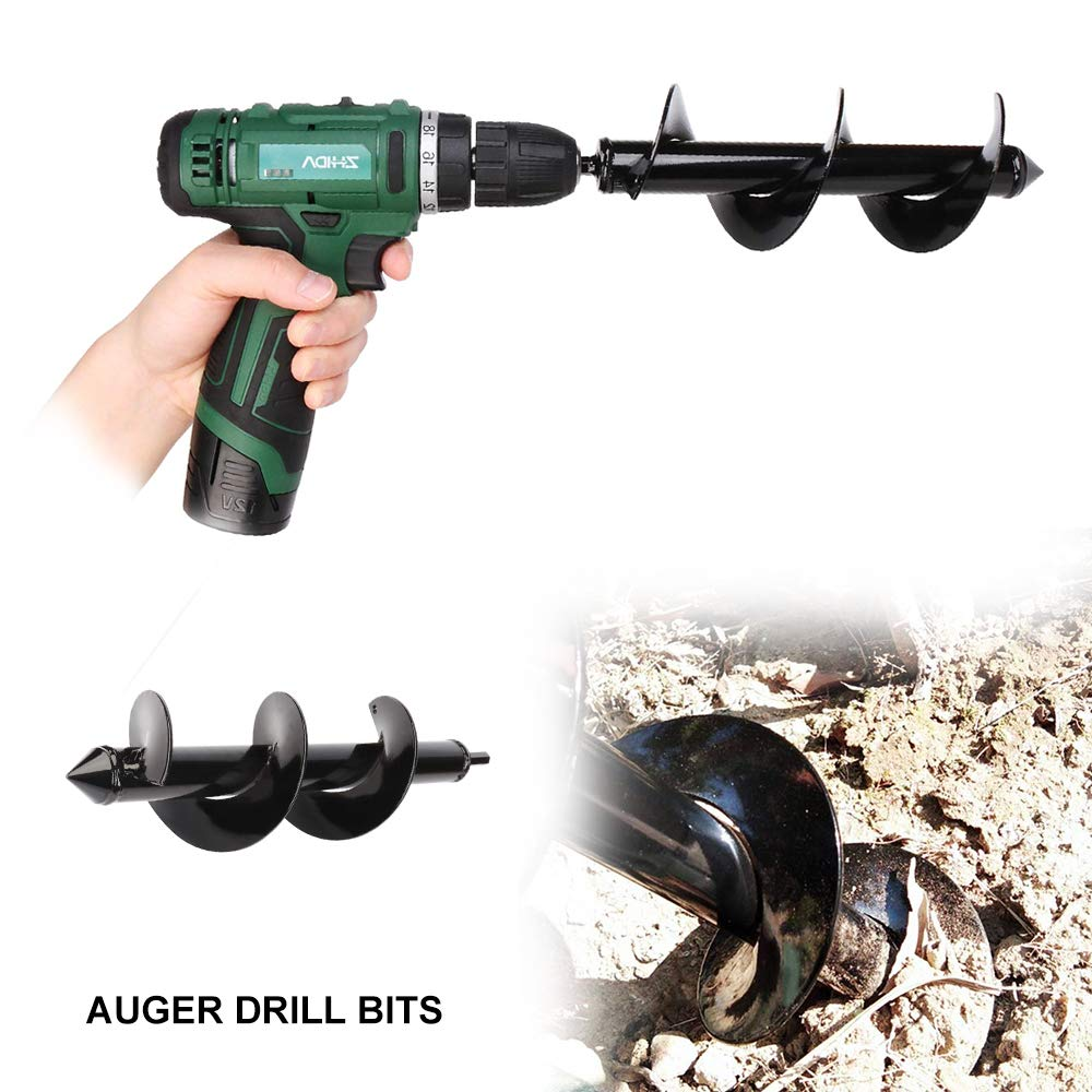 Garden Auger Drill Bit Digging Bulb Drill Bit Garden Plant Flower Bulbs Auger Rapid Planter Bulb Farm Planting Spiral Digger Tool for Bedding Bulbs Seedlings (3inch x 12inch )
