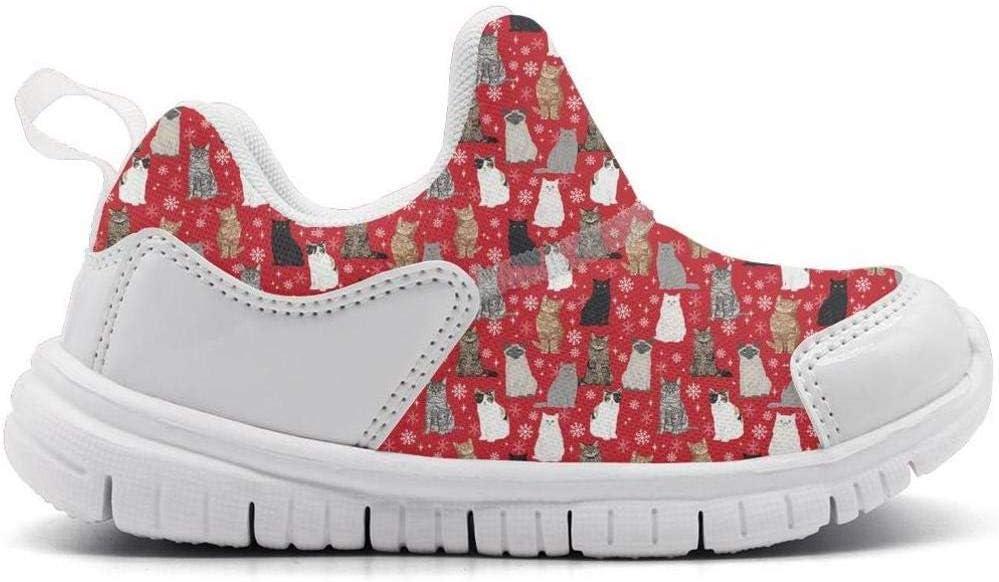ONEYUAN Children Snow Cat Snowflake Holiday Feline Kitten Kitty Pet Kid Casual Lightweight Sport Shoes Sneakers Walking Athletic Shoes