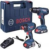 Combo 18V Bosch Parafusadeira e Furadeira de Impacto GSB 180-LI + Chave de Impacto GDX 180-LI, 2 Baterias, Carregador BIVOLT