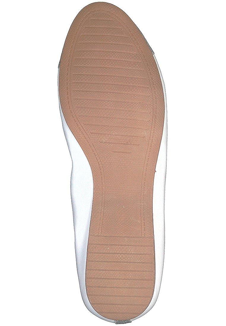 Tamaris 22129-191- Damenschuhe Modische Pumps/Ballerina, Weiß, Absatzhöhe: Leder/Synthetik, Absatzhöhe: Weiß, Flach Weiß/Silver 191 8fe3c1