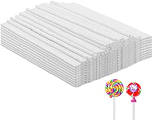 Lollipop Sticks,500 Pieces White Paper Treat Lollipop Sticks Lollipop Treat Sticks Sucker Stick for Cake Topper,Rainbow Candy, Cake Pops Chocolate (6 Inch)