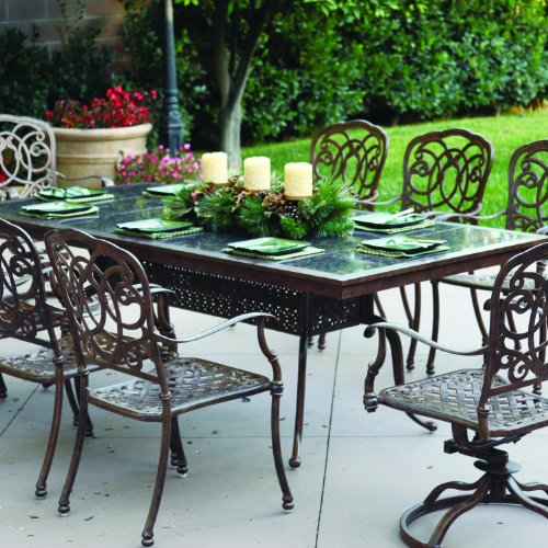 Darlee Florence 9 Piece Cast Aluminum Patio Dining Set With Granite Top Table - Mocha / Brown Granite Tile -