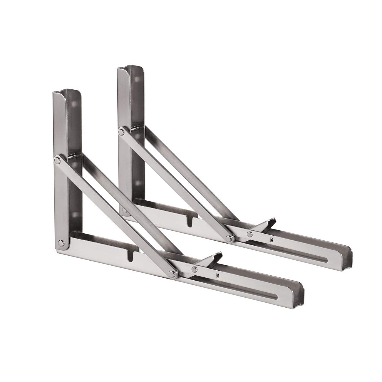 "YUMORE Folding Shelf Bracket, Heavy Duty Stainless Steel Collapsible Shelf Bracket for Table Bench, Space Saving DIY Bracket, Max Load: 330lb 12"" Pack of 2"