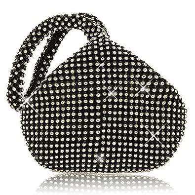 Mogor Women's Triangle Bling Glitter Purse Crown Box Clutch Evening Luxury Bags Party Prom Black Size: Medium