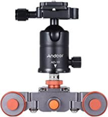 Andoer Mini Motorizado Eléctrico 3 Ruedas Dolly Car de Video + Ballhead de Aleación de Aluminio para Cámara Videocamara