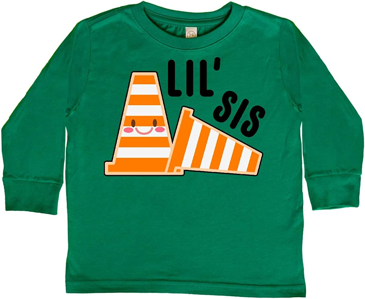 inktastic Lil Sis with Construction Cones Toddler Long Sleeve T-Shirt