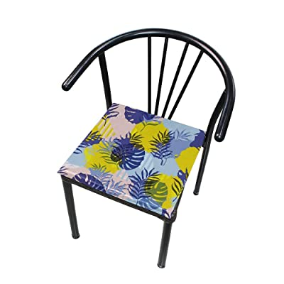 """Bardic HNTGHX Outdoor/Indoor Chair Cushion Tropical Leaf Painting Square Memory Foam Seat Pads Cushion for Patio Dining, 16"""" x 16"""": Home & Kitchen"""