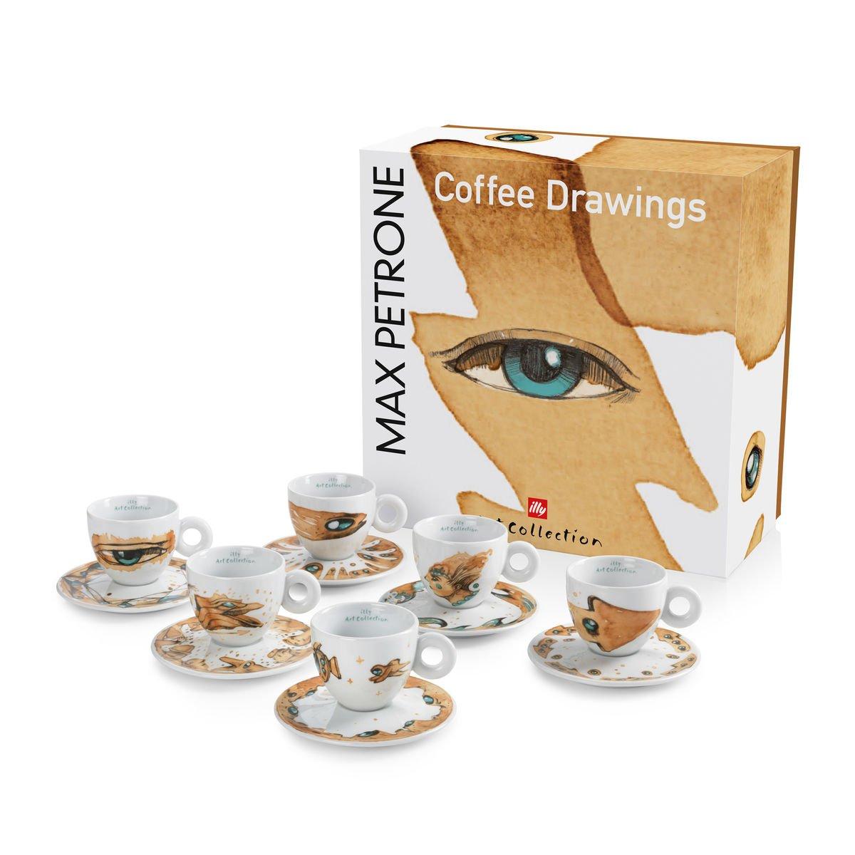 Illy MAX PETRONE Collection 6er Set Cappuccinotassen mit UT im Geschenkset