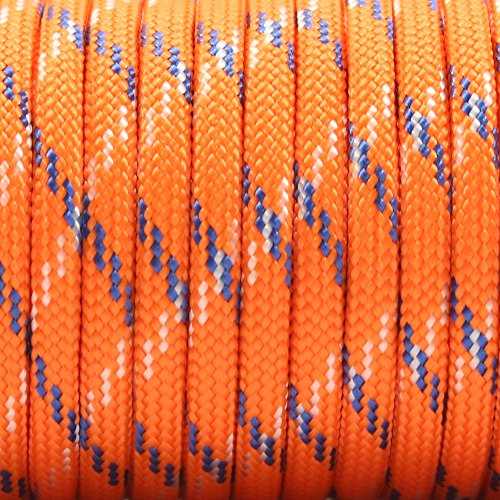 PSKOOK Survival Paracord Parachute Fire Cord Survival Ropes Red Tinder Cord PE Fishing Line Cotton Thread 7 Strands Outdoor 20, 25, 100 Feet (Orange Camo, 100) by PSKOOK (Image #1)
