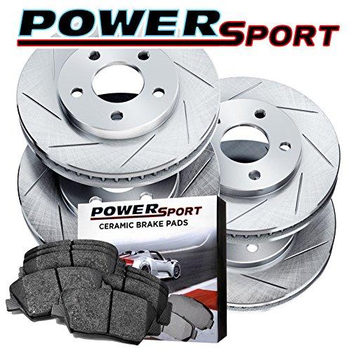 Full Kit PowerSport Slotted Brake Rotors and Ceramic Pads Fits 1992-1997 Subaru (Subaru Svx Car)