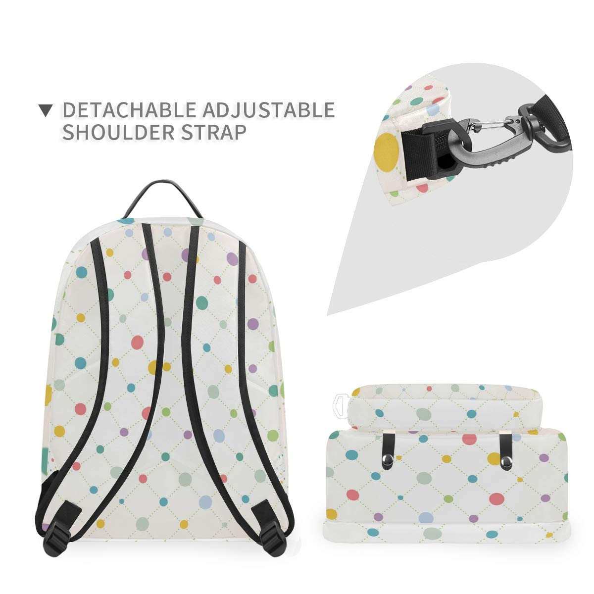 Colorful Spot Shoulder Backpack Messenger Crossbody Laptop Bag Student Bookbags for Kid Girls Boys