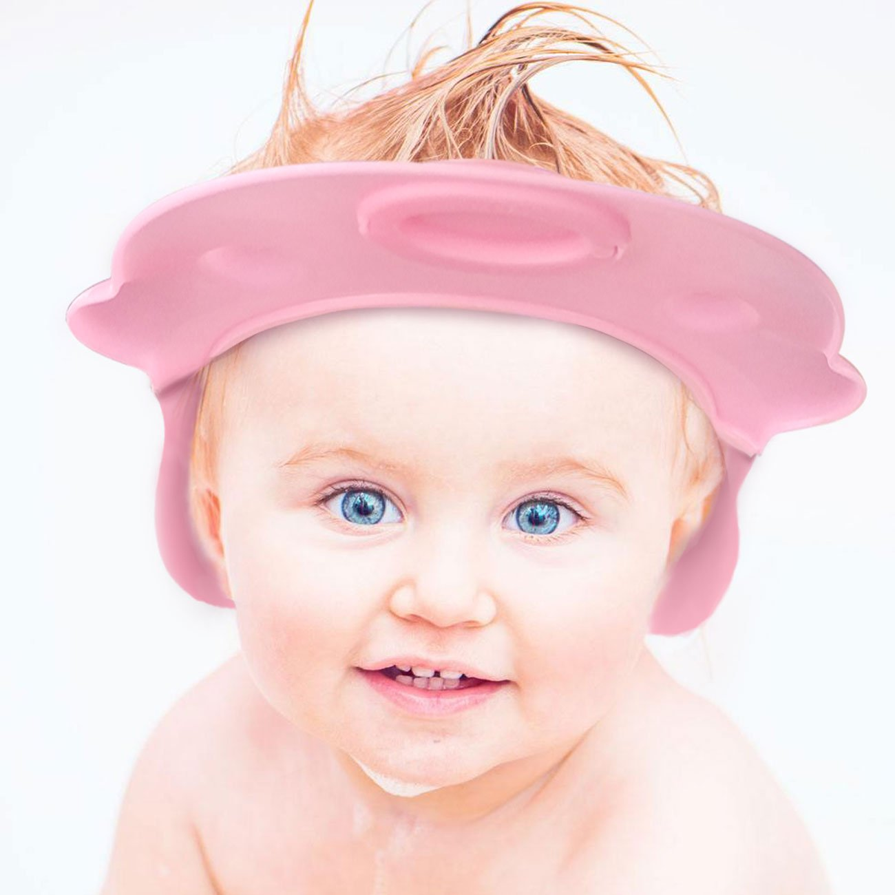 2 pack baby bath cap (blue and pink cute hippo) LEAK PROOF baby bath visor baby bath hat baby shower cap- Gift box package (blue and pink) Paris babyhome Inc