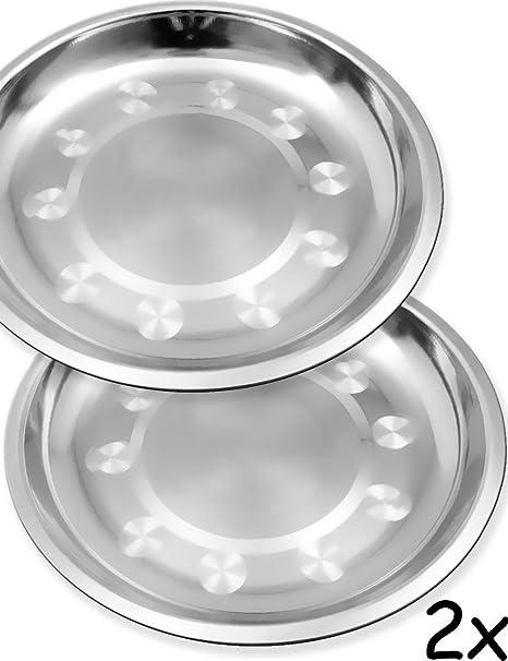 Outdoor Saxx® – 2 platos de acero inoxidable, platos de camping, platos de camping, platos de exterior, senderismo, tiendas de campaña, pequeños y ...