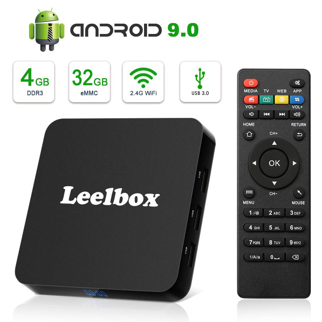 Android 9.0 TV Box, Leelbox Q4 Android Box 4GB RAM 32GB ROM RK3328 Quad-core, Support BT 4.1,2.4 GHz WiFi,H.265,USB 3.0,3D 4K 2019 Updated Version by Leelbox