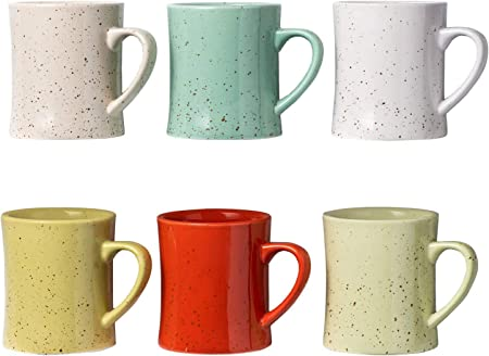 Ceramic Vintage Coffee Mugs Set of 6 Multicolored Coffee Cups Retro Mugs Made of Ceramic Microwave & Dishwasher Safe Convenient and Decorative