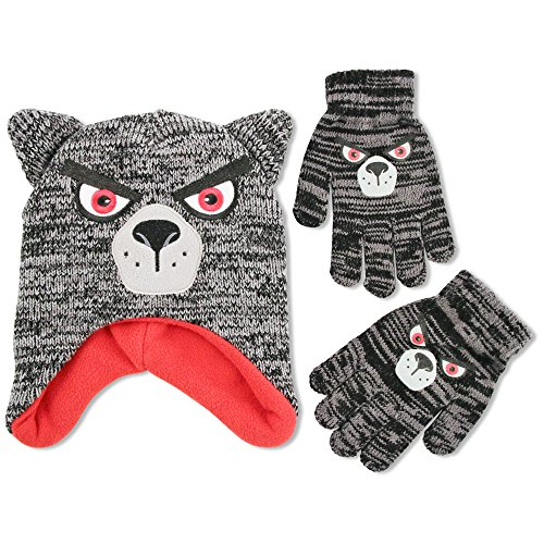 ABG Accessories Big Boys Wolf Critter Acrylic Winter Laplander Hat with 3D Puffed Ears and Matching Glove Set., black, One Size Fits Most