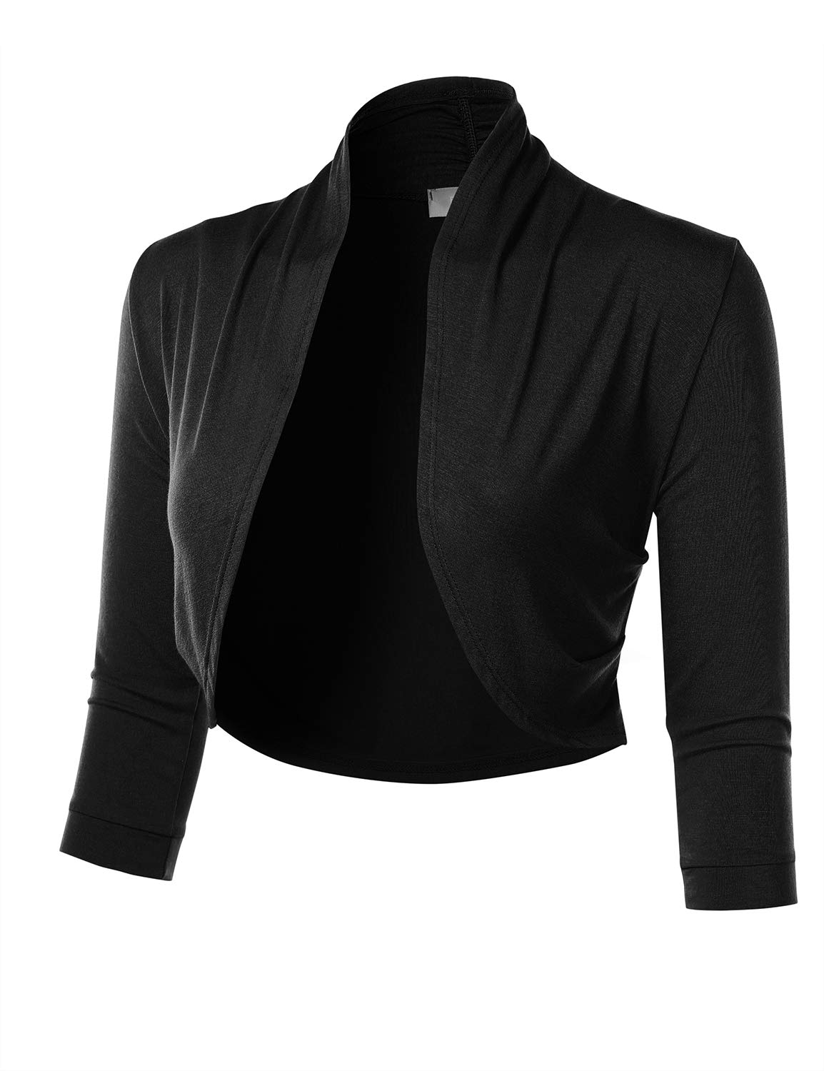 FLORIA Women's 3/4 Sleeve Open Front Cropped Bolero Shrug Cardigan with Side Pleats Black M by FLORIA