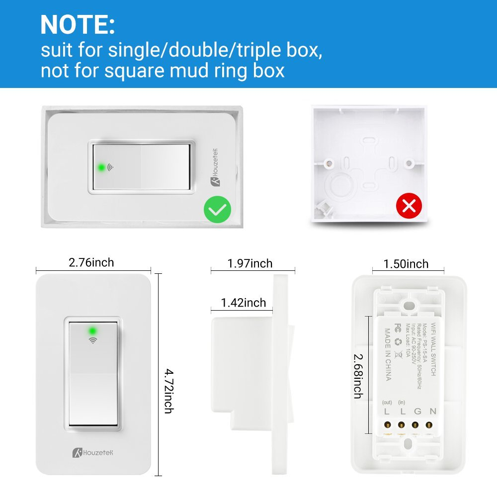 Smart Wall Switch, Houzetek Wireless Wifi Light Switch with Timing Function and Remote Control, Work with Amazon Alexa/Google Home/IFTTT, No Hub Required (PS15SA) by Houzetek (Image #7)