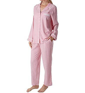 Eileen West Women s Flannel Notch Collar Pajama Set Red Stripe X-Small 882807932