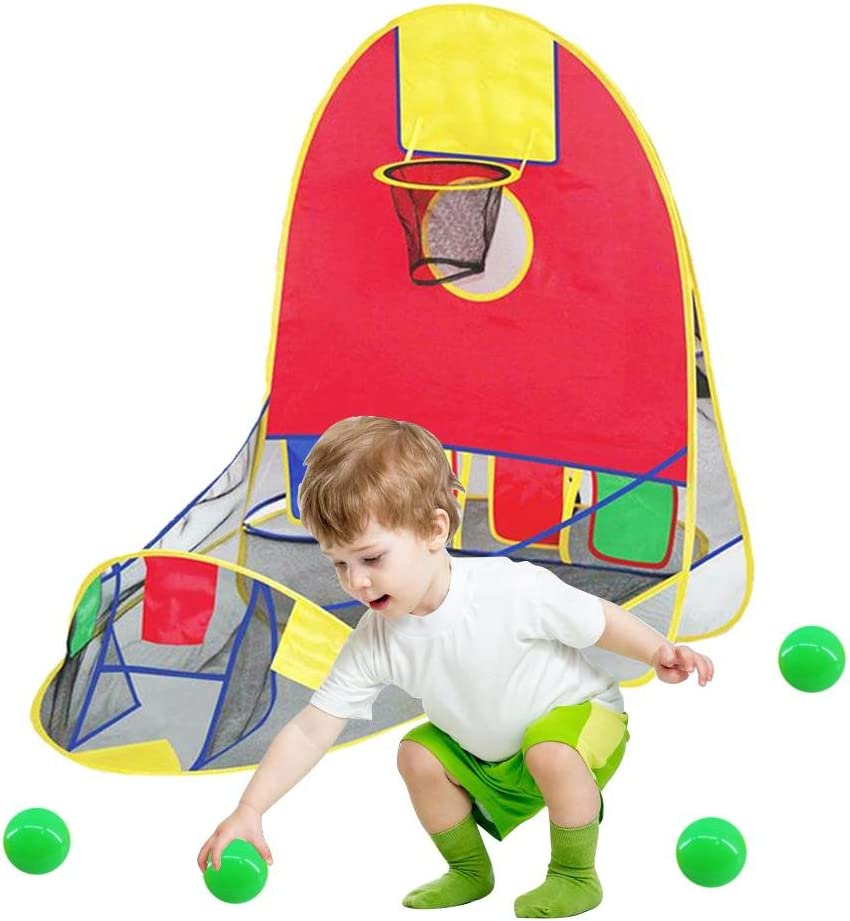 Kids Playhouse Childrens Tent Fold Up Pop Up Tents Tunnels /& Basketball Pit Play Center Collapsible Play House Educational Toy House
