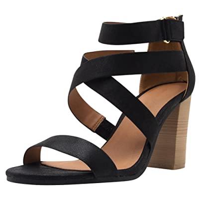 e7ebb27e215 Cambridge Select Women s Open Toe Crisscross Ankle Strappy Chunky Stacked Heel  Sandal