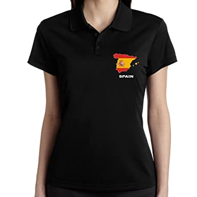 Teeburon Spain Country Map Color Polo Camisa Mujer: Amazon.es ...