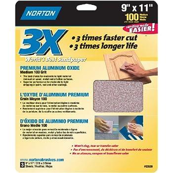 Norton Co. 2620 3X Handy Aluminum-Oxide 100 Grit Sandpaper, 9