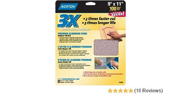 9-Inch x 11-Inch 3-Pack Norton 02620 3X Handy Aluminum-Oxide Sandpaper 100 Grit
