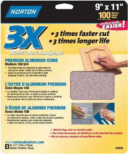 Norton 02620 3X Handy Aluminum-Oxide Sandpaper 100 Grit 9-Inch x 11-Inch 3-Pack