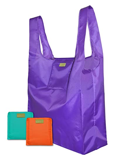 b9baac2ffb1 Reusable Shopping Bags - Set of 3 Foldable Grocery Bags with Attached Pouch  - Fabric Shopping