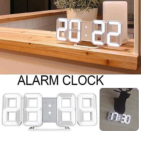 iBaste_S Reloj Despertador Digital Digital 3D con función de visualización de Ciclo de Tiempo Fecha Temperatura Adecuado para el hogar de Escritorio de ...