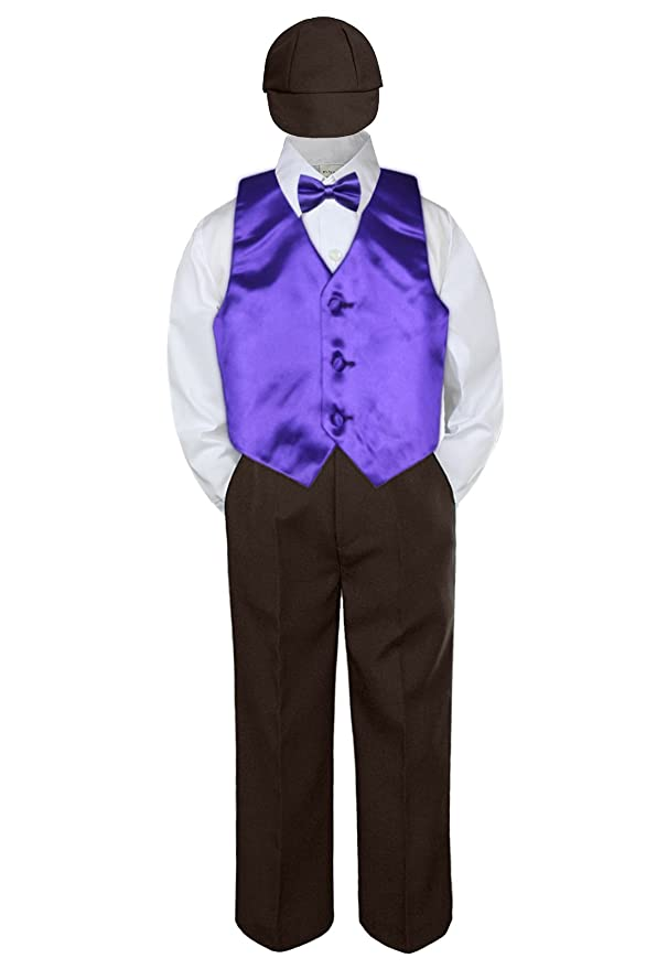 Details about  /New 5pc Boy Toddler Silver Vest Bow Tie,Pick Black Khaki Brown White Hat Shorts