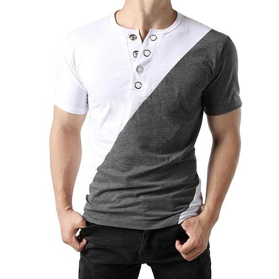 Hombres Camisetas Blusas,Moda Blusa del Botón de los Hombres,Slim fit Patchwork Camiseta