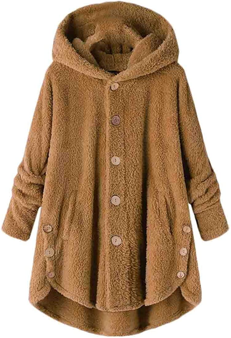 Women Button Coat Fluffy Tail Tops Fashion Hooded Pullover Loose