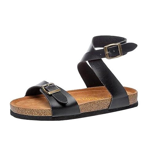 Damen Plateau Zehentrenner Pantoletten Sandaletten Sandalen Fesselriemen Slipper