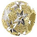 925 Sterling Silver with Gold Tone Twinkle Star Starry Night Universe Stardust Bead For European Charm Bracelets