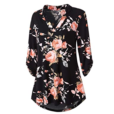 c1293978150dc0 DOINSHOP Womens Floral Printed Tunic Shirts 3/5 Roll Sleeve Button Layered  Notch Neck Blouse