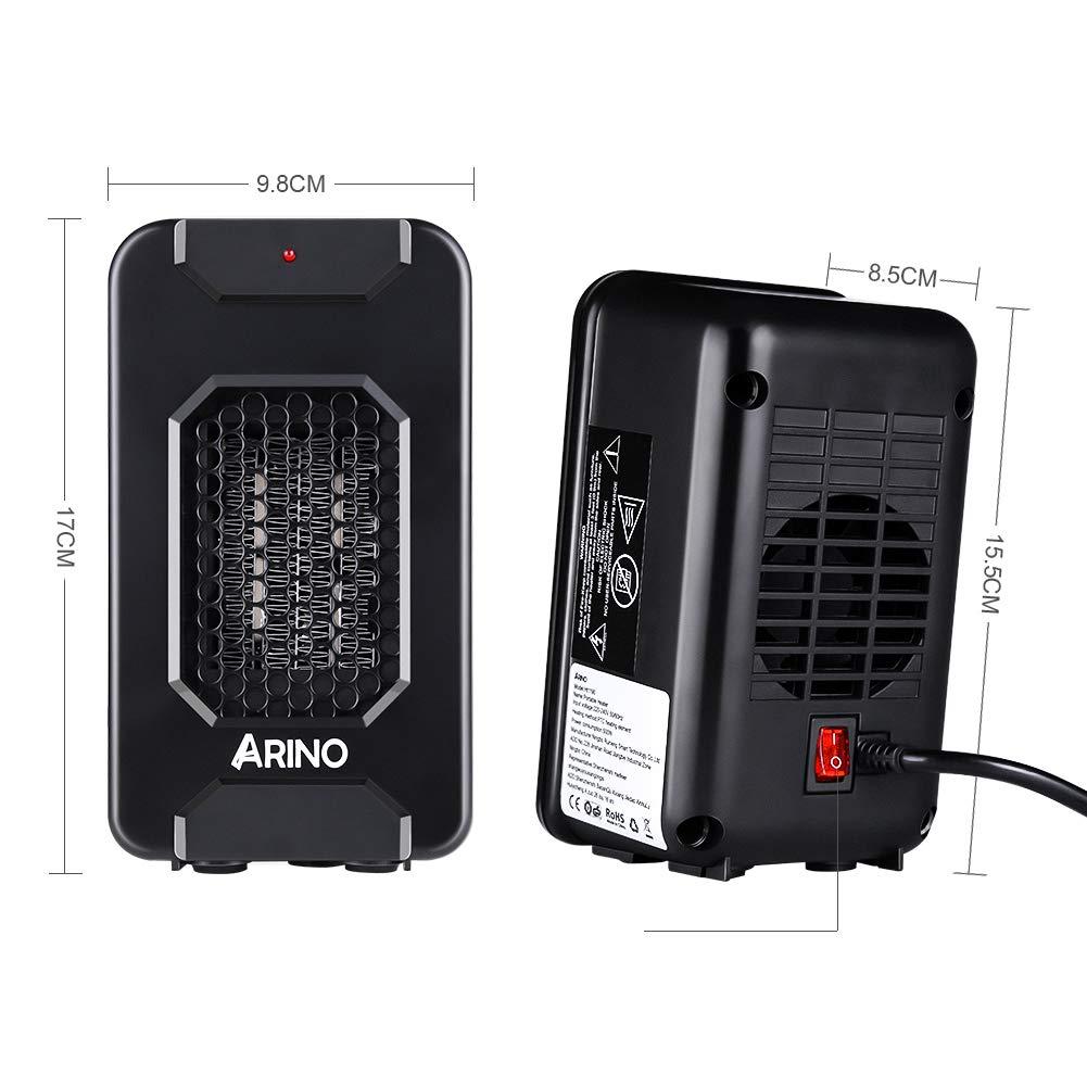 ARINO Stufa Elettriche Mini Riscaldatore Portatile Termoventilatore Riscaldamento Elettrico a Ventilatore a Basso Consumo 500W per Scrivania Ufficio Casa con Protezione da Surriscaldamento Colore Nero