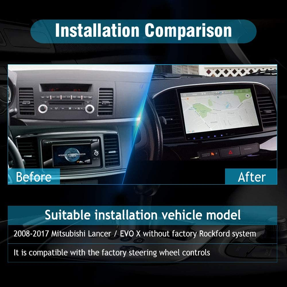 SYGAV Android 10 Car Stereo for 2008-2017 Mitsubishi Lancer EVO X with Carplay Without OEM Rockford Fosgate AMP Radio GPS Navigation Head Unit
