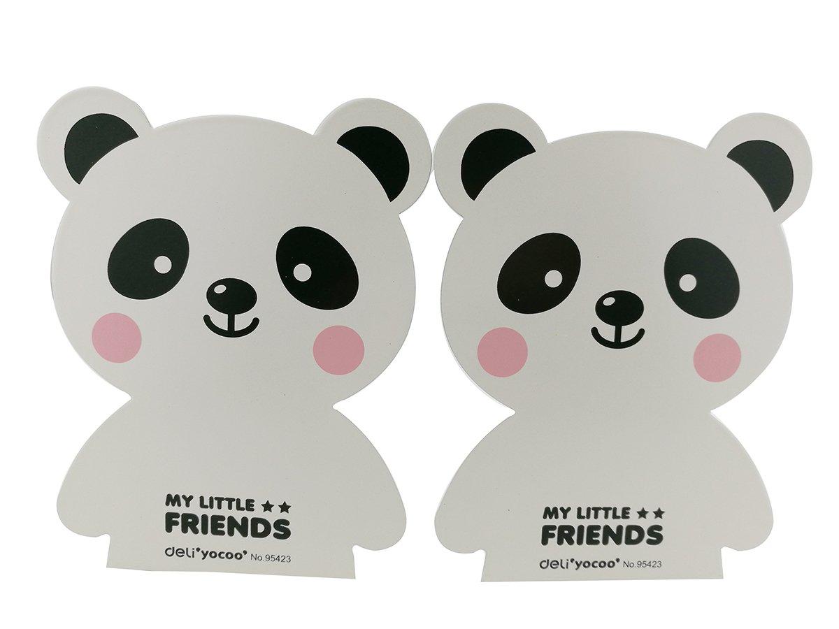 Winterworm Cartoon Cute Lovely Panda Bear Pattern Nonskid Heavy Metal Office Desk Bookends for kids children (White)