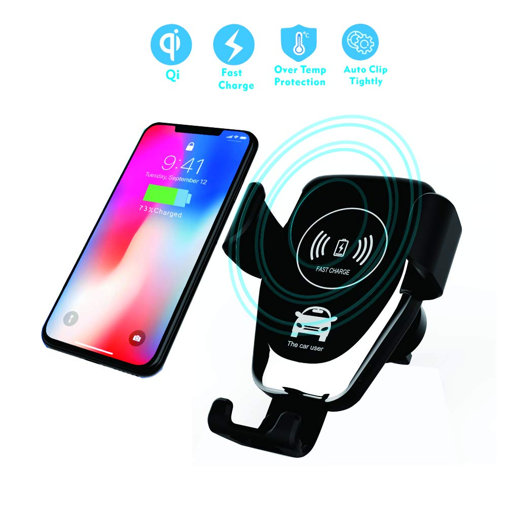 FlySea Wireless Car Charger Mount, Automatic Clamping 10W/7.5W Fast Charging Qi Car Phone Holder, Air Vent Dashboard Compatible with iPhone Xs/Max/X/XR/8/8 Plus, Samsung Galaxy Note 9/S9/S9+/S8