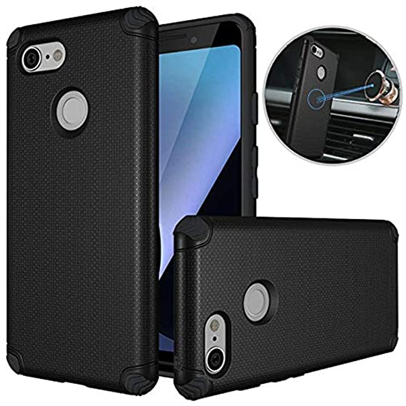 buy popular 7511c 0e3f5 Google Pixel 3 Case, Google Pixel 3 Car Case, Dretal Shock-Absorption Armor  Anti-Slip Texture Protective Case Cover with Embedded Metal Plate for ...