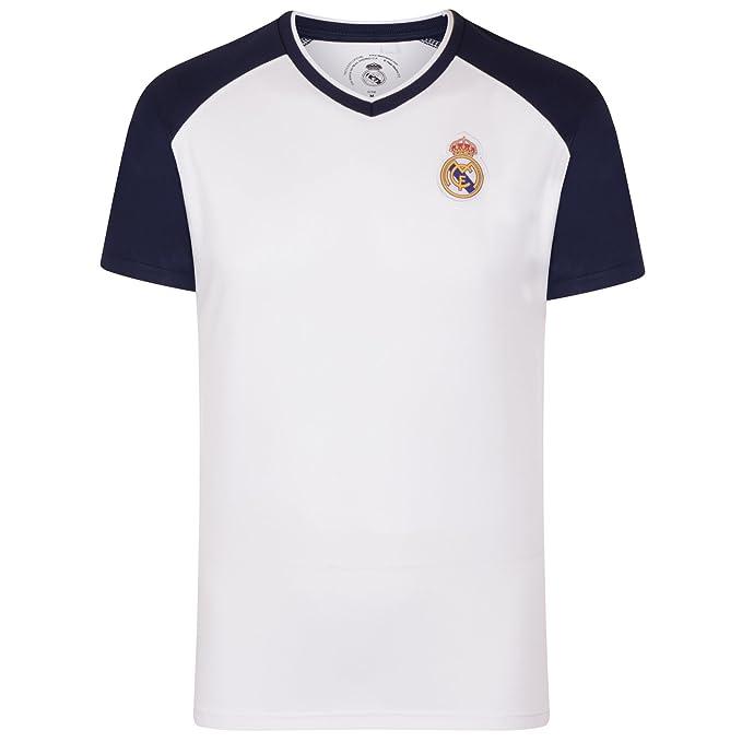 Real Madrid Camiseta Oficial para Entrenamiento - para Hombre - Poliéster - Blanco Cuello de Pico - 3XL eh32fyFxrG