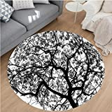 Nalahome Modern Flannel Microfiber Non-Slip Machine Washable Round Area Rug-Decor Forest Tree Branches Modern Decor Spooky Horror Movie Themed Print Black and White area rugs Home Decor-Round 79''