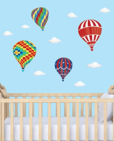 Colorful hot air balloon stickers for walls cloud decals